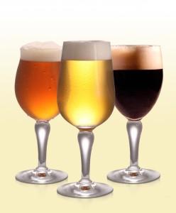 Copa de cerveza lager, copa de cerveza stout y copa de cerveza de abadía