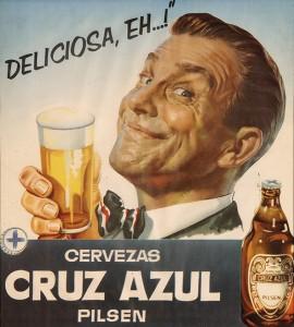 Cartel de publicidad de cerveza cruz azul