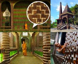Templo budista con botellas de cerveza
